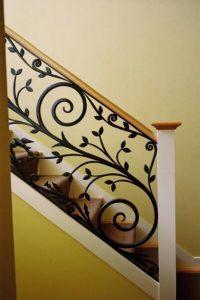 نرده راه پله با طرح گل